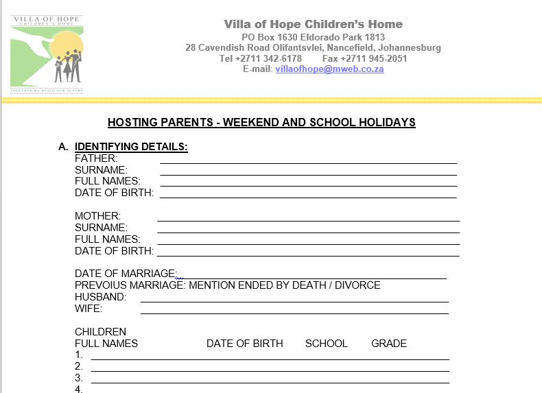 Snip pic of  Host parent form