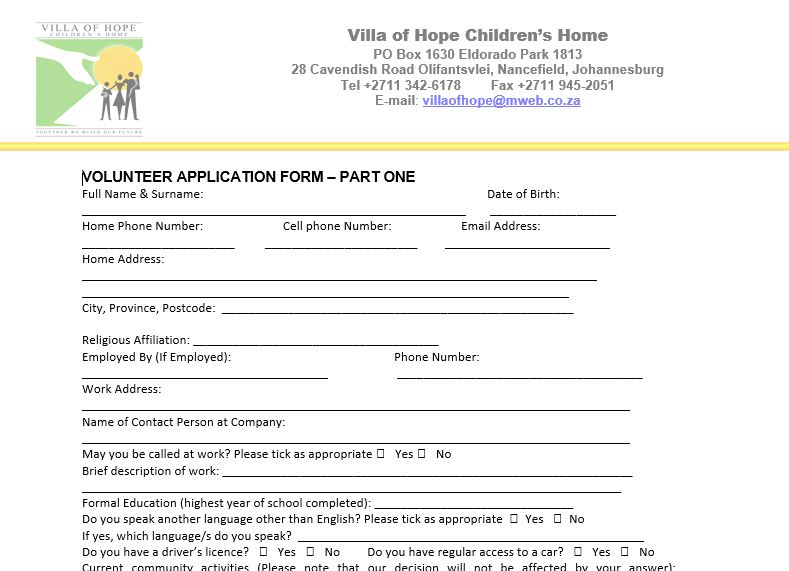 Snip pic of volunteer application form
