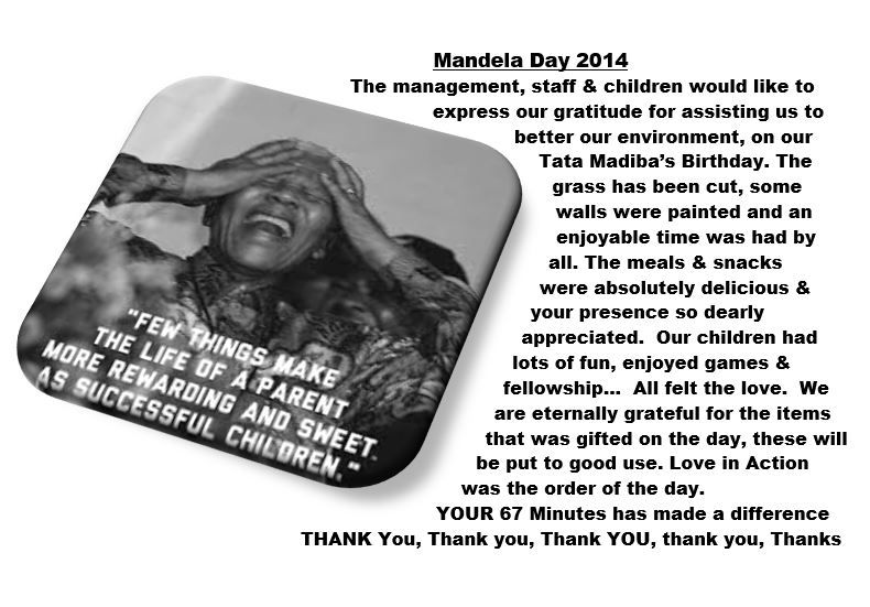 Mandela day thank you note 2014
